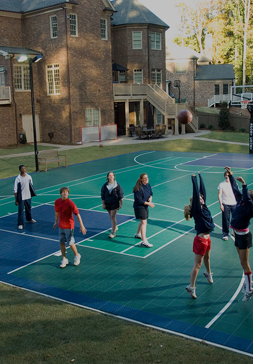 kids playing on a sport court